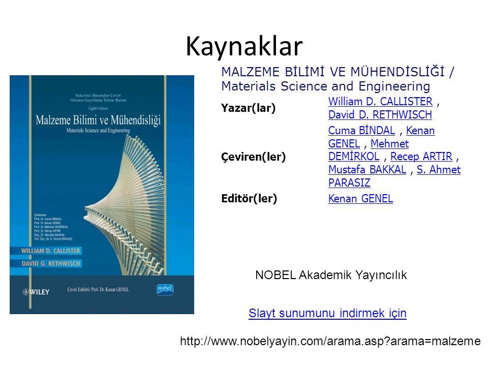 Kaynaklar NOBEL Akademik Yayıncılık MALZEME BİLİMİ VE MÜHENDİSLİĞİ / Materials Science and Engineering Yazar(lar) William D. CALLISTERWilliam D. CALLI