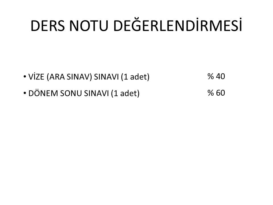 DERS NOTU DEĞERLENDİRMESİ VİZE (ARA SINAV) SINAVI (1 adet) DÖNEM SONU SINAVI (1 adet) % 40 % 60