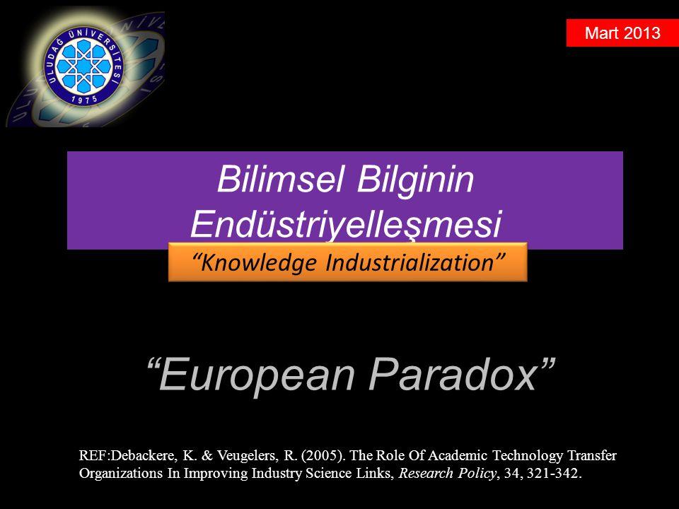 Mart 2013 European Paradox Bilimsel Bilginin Endüstriyelleşmesi Knowledge Industrialization REF:Debackere, K.