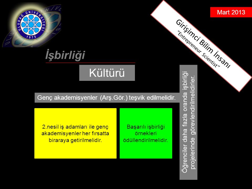 Mart 2013 İşbirliği Kültürü Genç akademisyenler (Arş.Gör.) teşvik edilmelidir.