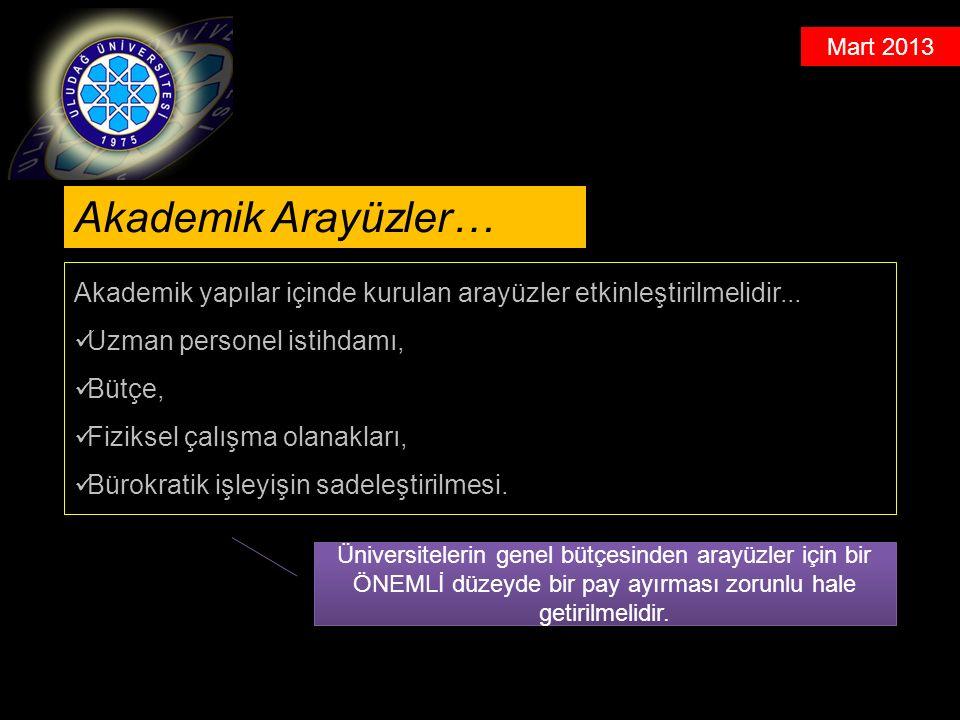 Mart 2013 Akademik yapılar içinde kurulan arayüzler etkinleştirilmelidir...