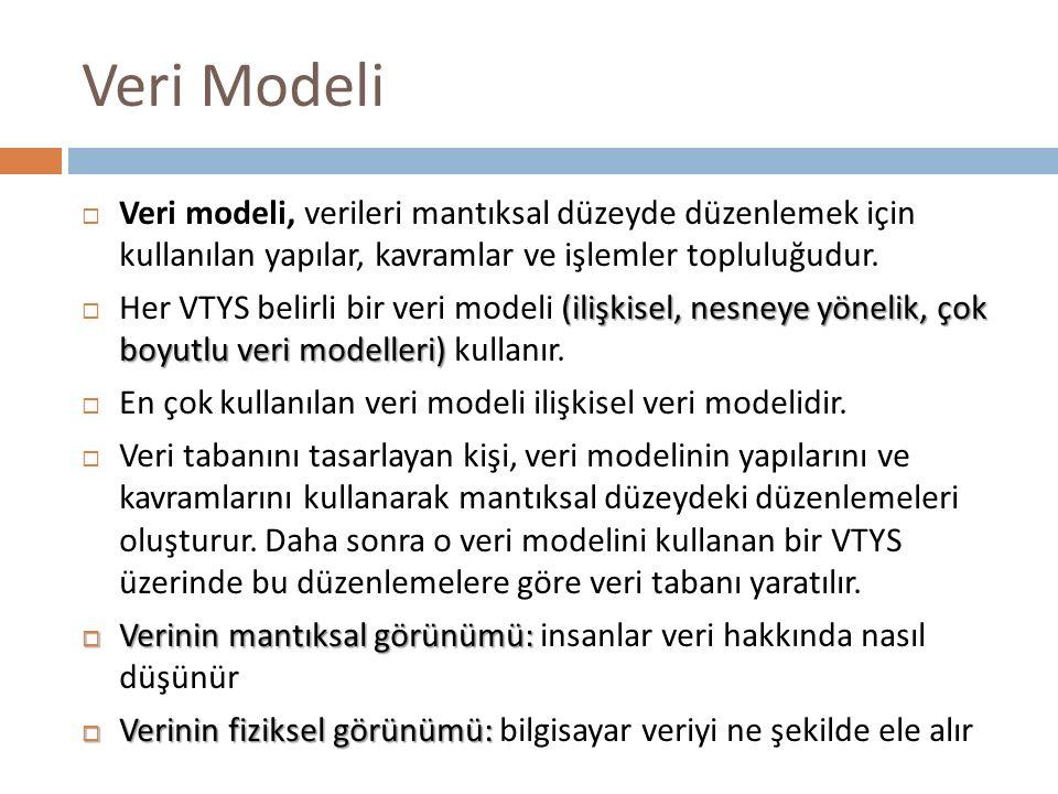 Veri Modeli  Veri modeli, verileri mantıksal düzeyde düzenlemek için kullanılan yapılar, kavramlar ve işlemler topluluğudur. (ilişkisel, nesneye yöne