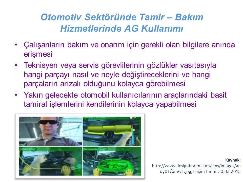Otomotiv Sektöründe Tamir – Bakım Hizmetlerinde AG Kullanımı Çalışanların bakım ve onarım için gerekli olan bilgilere anında erişmesi Teknisyen veya s