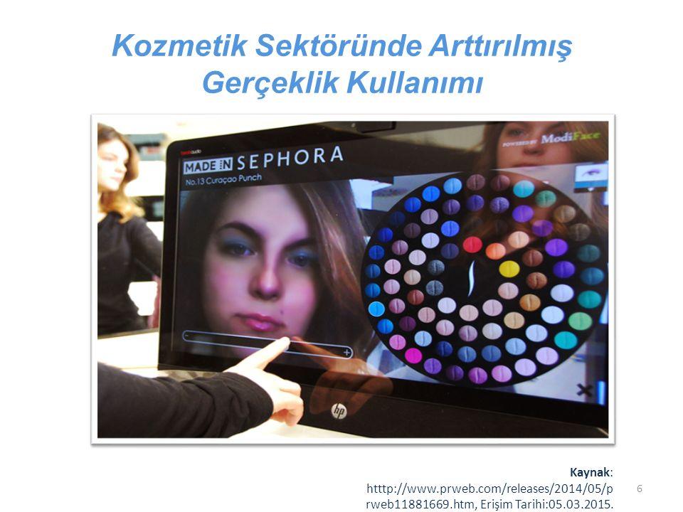 Kozmetik Sektöründe Arttırılmış Gerçeklik Kullanımı Kaynak: htttp://www.prweb.com/releases/2014/05/p rweb11881669.htm, Erişim Tarihi:05.03.2015. 6