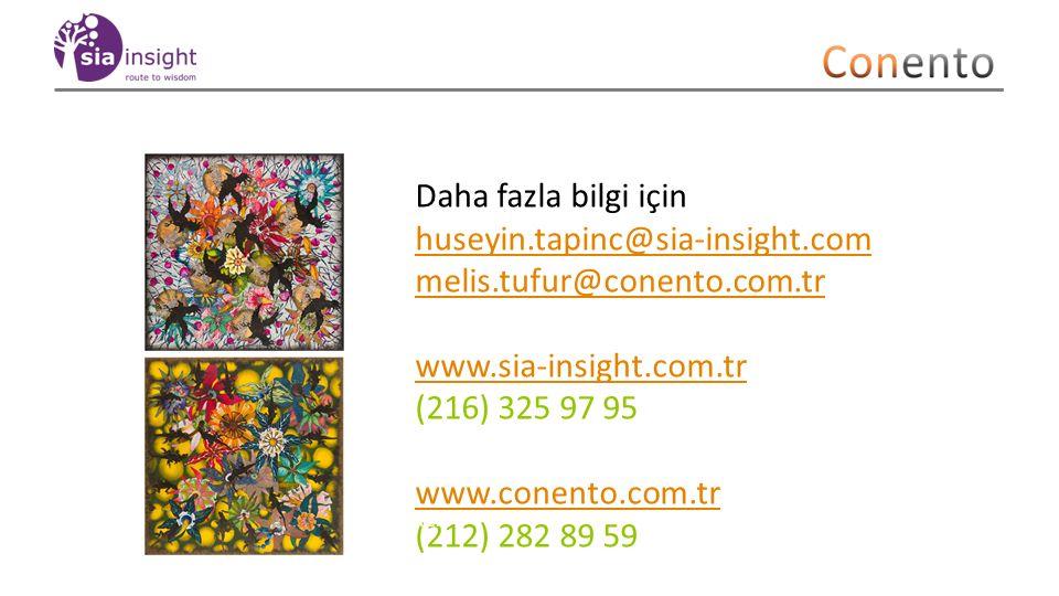 Daha fazla bilgi için huseyin.tapinc@sia-insight.com melis.tufur@conento.com.tr www.sia-insight.com.tr (216) 325 97 95 www.conento.com.tr (212) 282 89 59 Artist: Andy Farr 27