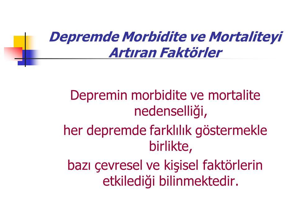 Depremde Morbidite ve Mortaliteyi Artıran Faktörler Depremin morbidite ve mortalite nedenselliği, her depremde farklılık göstermekle birlikte, bazı çevresel ve kişisel faktörlerin etkilediği bilinmektedir.