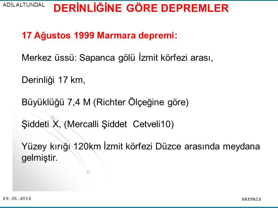 29.05.2016 ADİL ALTUNDAL SAYFA12 17 Ağustos 1999 Marmara depremi: Merkez üssü: Sapanca gölü İzmit körfezi arası, Derinliği 17 km, Büyüklüğü 7,4 M (Richter Ölçeğine göre) Şiddeti X, (Mercalli Şiddet Cetveli10) Yüzey kırığı 120km İzmit körfezi Düzce arasında meydana gelmiştir.