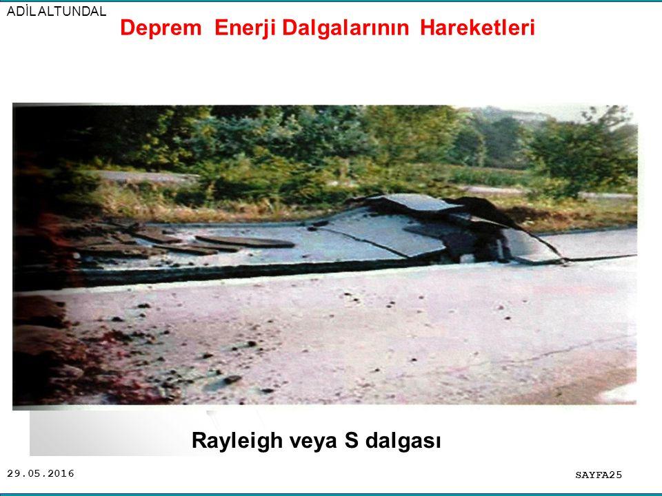 29.05.2016 ADİL ALTUNDAL SAYFA25 Deprem Enerji Dalgalarının Hareketleri Rayleigh veya S dalgası