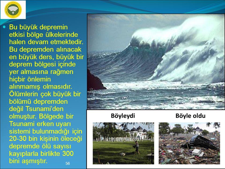 26 Aralık 2004 Endonezya Depremi (9.1) Büyüklüğü 9.1 ve derinliği 37 km.