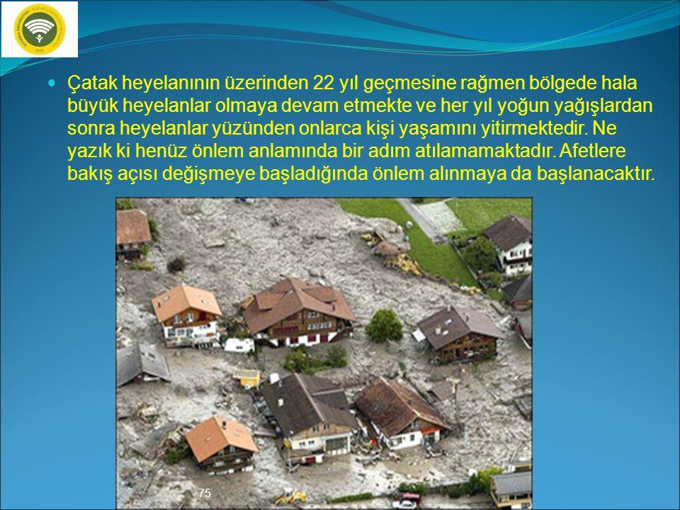 21 Temmuz 1988 Çatak Heyelanı (Trabzon) Karadeniz bölgesi ülkemizin en çok heyelan olan bölgesidir. Jeolojik yapısı nedeniyle sık sık heyelanların yaş
