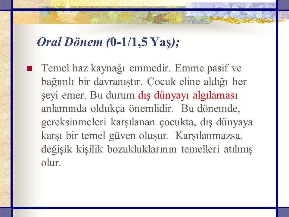 Oral Dönem (0-1/1,5 Yaş); Temel haz kaynağı emmedir.