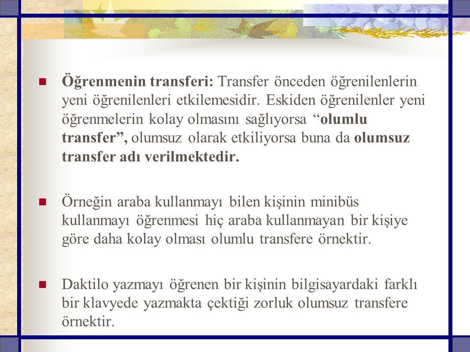Öğrenmenin transferi: Transfer önceden öğrenilenlerin yeni öğrenilenleri etkilemesidir.