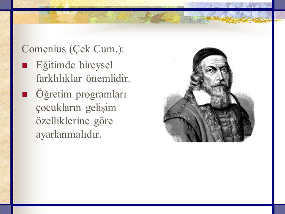 Comenius (Çek Cum.): Eğitimde bireysel farklılıklar önemlidir.