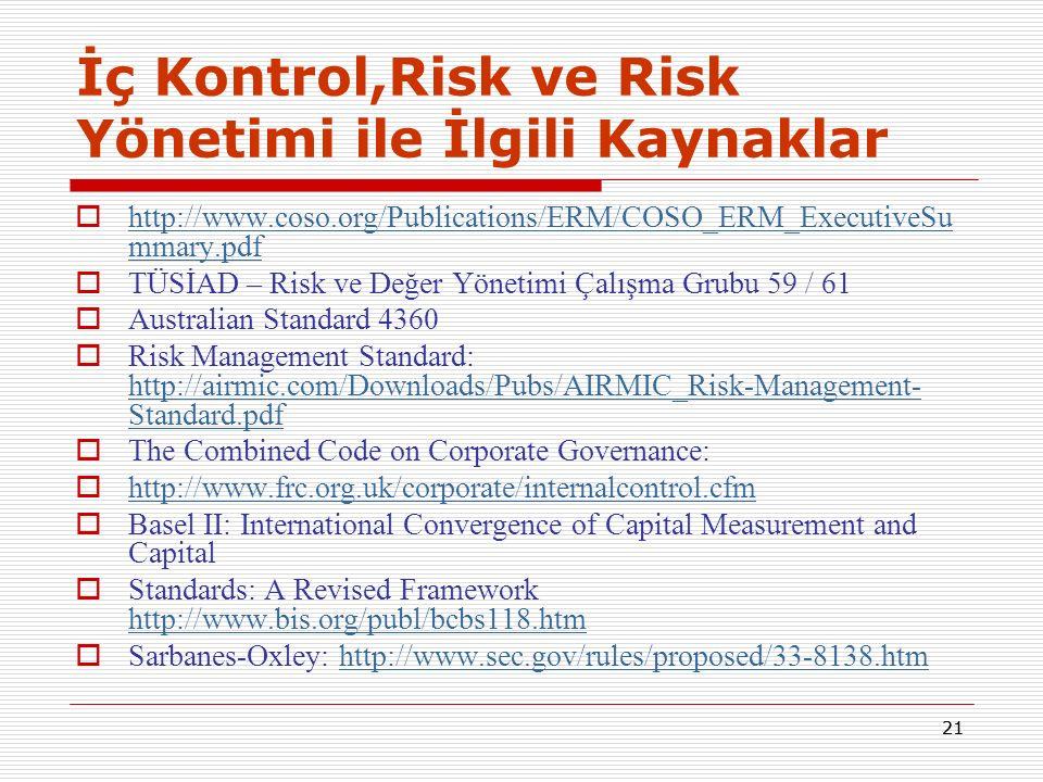 21 İç Kontrol,Risk ve Risk Yönetimi ile İlgili Kaynaklar  http://www.coso.org/Publications/ERM/COSO_ERM_ExecutiveSu mmary.pdf http://www.coso.org/Pub