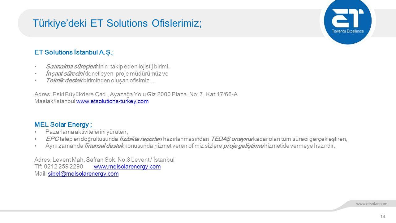 Türkiye'deki ET Solutions Ofislerimiz; 14 ET Solutions İstanbul A.Ş.; Satınalma süreçlerininin takip eden lojistij birimi, İnşaat sürecini denetleyen