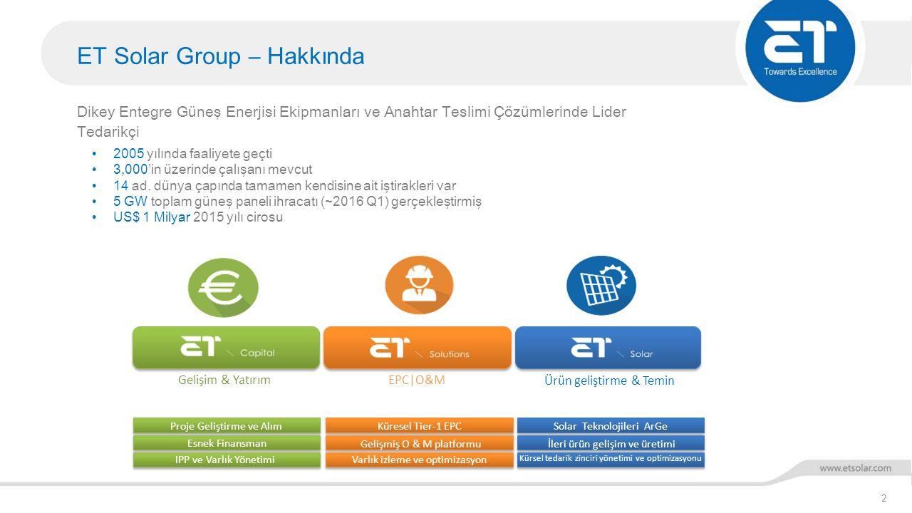ET Solar Group – Hakkında 2 Dikey Entegre Güneş Enerjisi Ekipmanları ve Anahtar Teslimi Çözümlerinde Lider Tedarikçi Gelişim & YatırımEPC|O&M Ürün gel