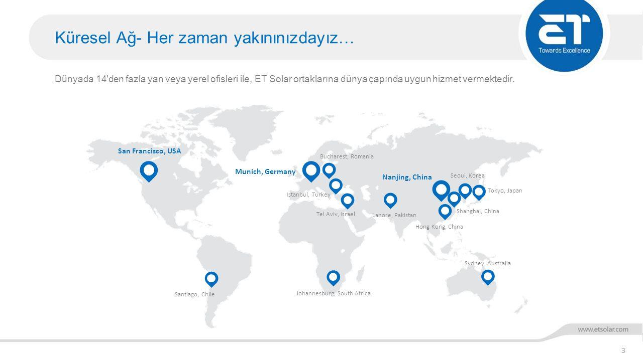 Küresel Ağ- Her zaman yakınınızdayız… 3 Dünyada 14'den fazla yan veya yerel ofisleri ile, ET Solar ortaklarına dünya çapında uygun hizmet vermektedir.