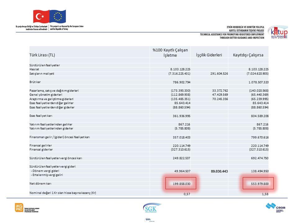 Türk Lirası (TL) %100 Kayıtlı Çalışan İşletmeİşçilik GiderleriKayıtdışı Çalışırsa Sürdürülen faaliyetler Hasılat8.103.128.225 Satışların maliyeti (7.3