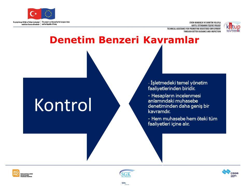 Kontrol - İşletmedeki temel yönetim faaliyetlerinden biridir. - Hesapların incelenmesi anlamındaki muhasebe denetiminden daha geniş bir kavramdır. - H
