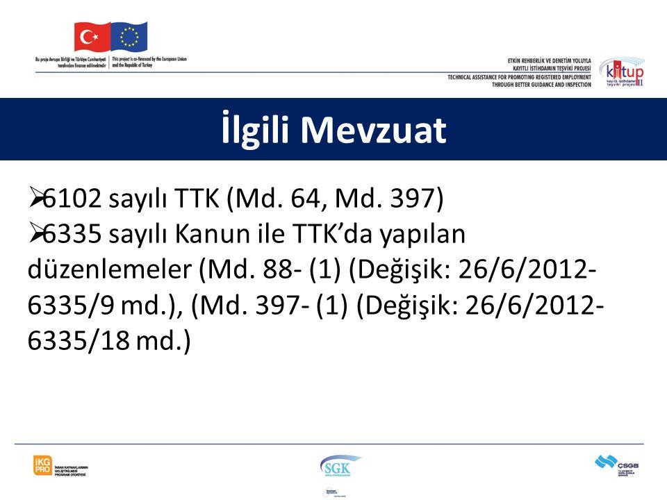  6102 sayılı TTK (Md. 64, Md. 397)  6335 sayılı Kanun ile TTK'da yapılan düzenlemeler (Md. 88- (1) (Değişik: 26/6/2012- 6335/9 md.), (Md. 397- (1) (