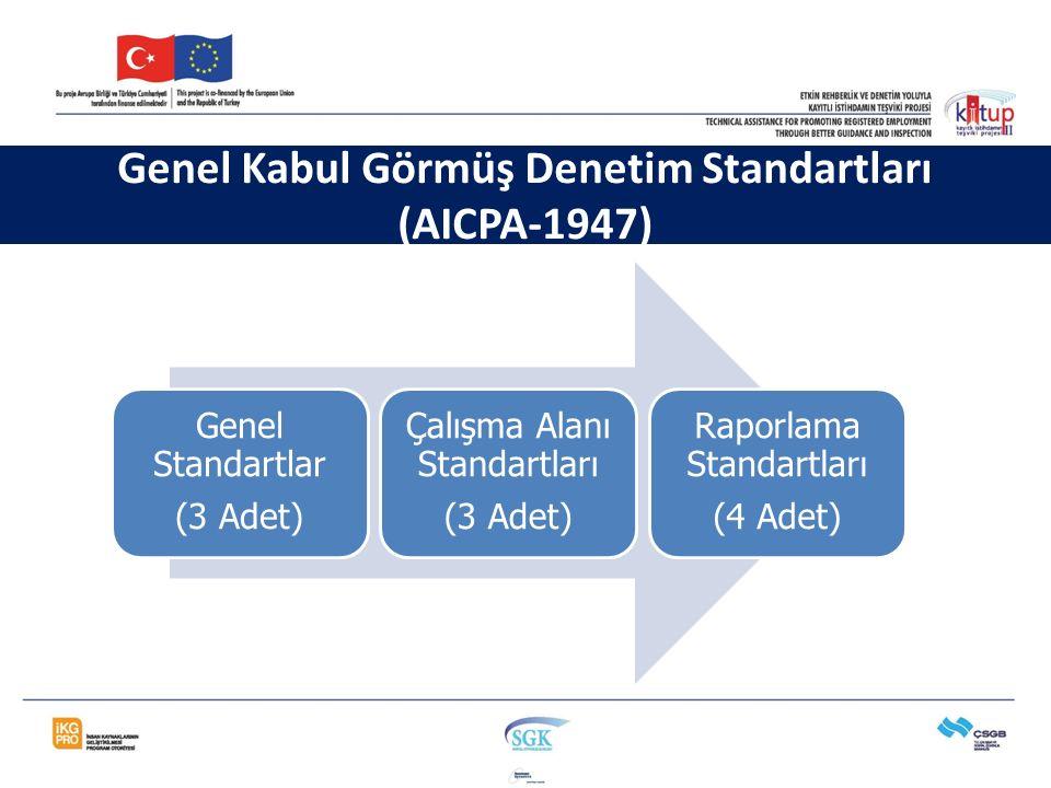 Genel Standartlar (3 Adet) Çalışma Alanı Standartları (3 Adet) Raporlama Standartları (4 Adet) Genel Kabul Görmüş Denetim Standartları (AICPA-1947)