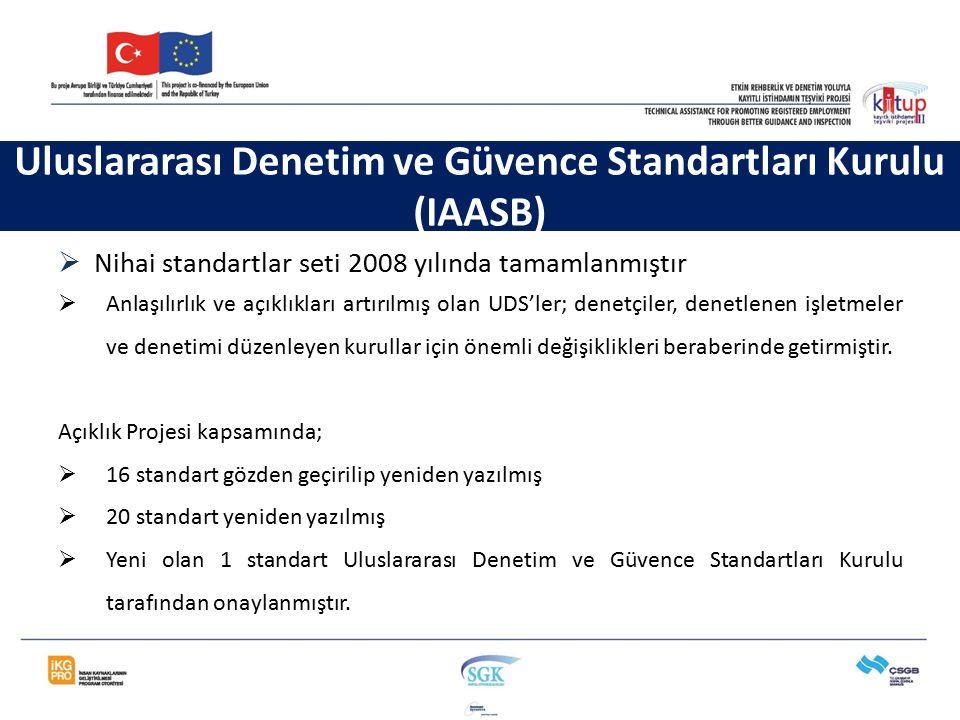 Uluslararası Denetim ve Güvence Standartları Kurulu (IAASB)  Nihai standartlar seti 2008 yılında tamamlanmıştır  Anlaşılırlık ve açıklıkları artırıl
