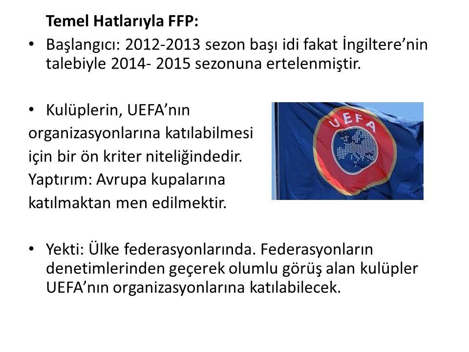 Temel Hatlarıyla FFP: Başlangıcı: 2012-2013 sezon başı idi fakat İngiltere'nin talebiyle 2014- 2015 sezonuna ertelenmiştir.