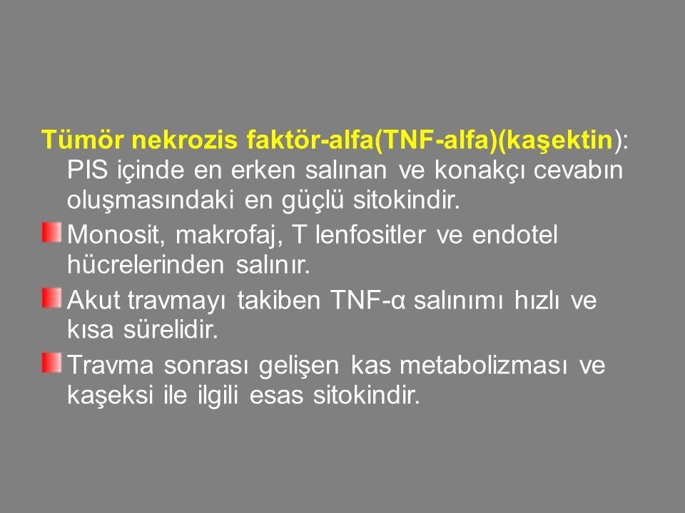 Tümör nekrozis faktör-alfa(TNF-alfa)(kaşektin): PIS içinde en erken salınan ve konakçı cevabın oluşmasındaki en güçlü sitokindir. Monosit, makrofaj, T