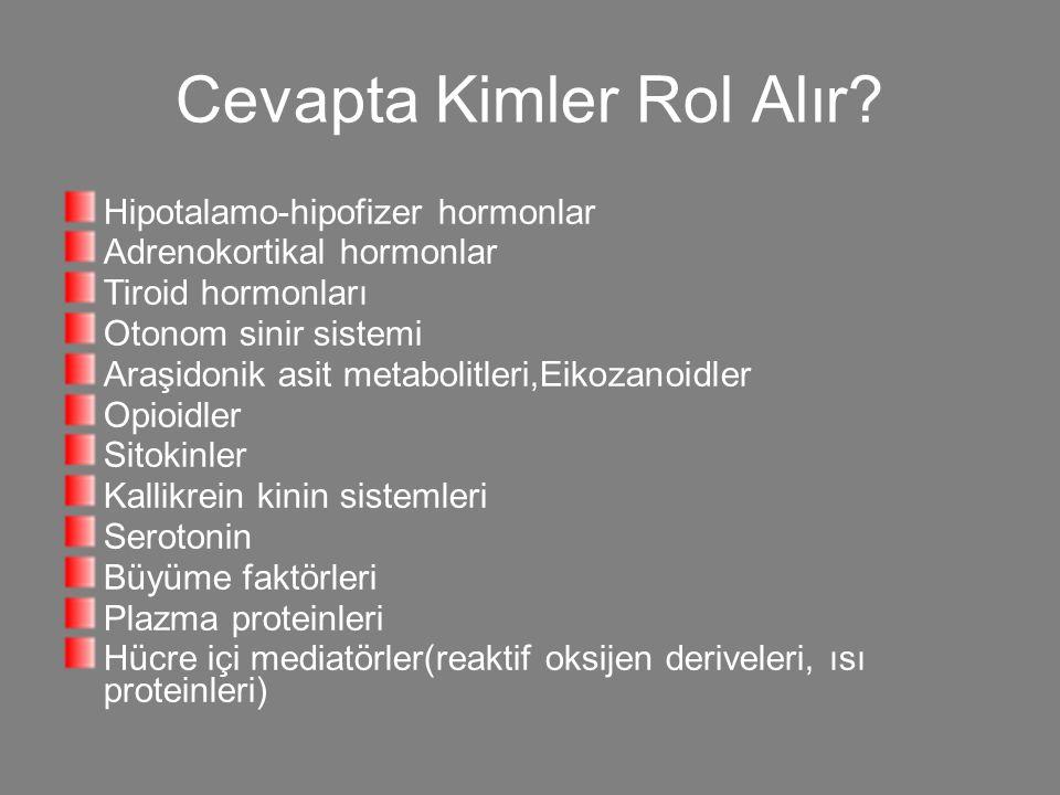 Cevapta Kimler Rol Alır? Hipotalamo-hipofizer hormonlar Adrenokortikal hormonlar Tiroid hormonları Otonom sinir sistemi Araşidonik asit metabolitleri,