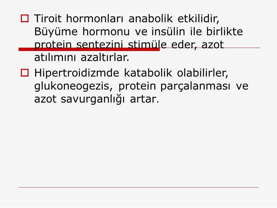  Tiroit hormonları anabolik etkilidir, Büyüme hormonu ve insülin ile birlikte protein sentezini stimüle eder, azot atılımını azaltırlar.