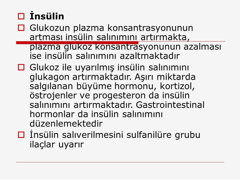  İnsülin  Glukozun plazma konsantrasyonunun artması insülin salınımını artırmakta, plazma glukoz konsantrasyonunun azalması ise insülin salınımını azaltmaktadır  Glukoz ile uyarılmış insülin salınımını glukagon artırmaktadır.