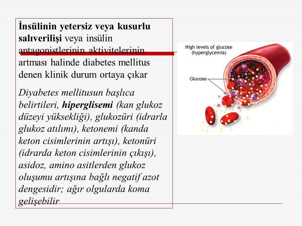 İnsülinin yetersiz veya kusurlu salıverilişi veya insülin antagonistlerinin aktivitelerinin artması halinde diabetes mellitus denen klinik durum ortaya çıkar Diyabetes mellitusun başlıca belirtileri, hiperglisemi (kan glukoz düzeyi yüksekliği), glukozüri (idrarla glukoz atılımı), ketonemi (kanda keton cisimlerinin artışı), ketonüri (idrarda keton cisimlerinin çıkışı), asidoz, amino asitlerden glukoz oluşumu artışına bağlı negatif azot dengesidir; ağır olgularda koma gelişebilir