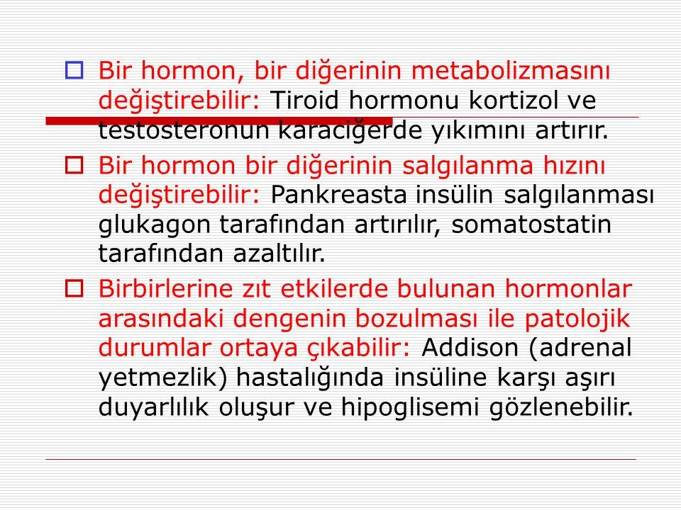  Bir hormon, bir diğerinin metabolizmasını değiştirebilir: Tiroid hormonu kortizol ve testosteronun karaciğerde yıkımını artırır.