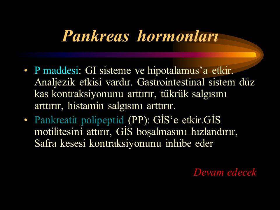 Pankreas hormonları P maddesi: GI sisteme ve hipotalamus'a etkir. Analjezik etkisi vardır. Gastrointestinal sistem düz kas kontraksiyonunu arttırır, t