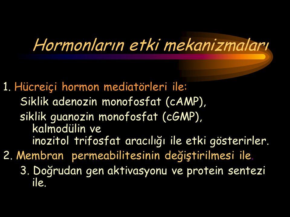 Hormonların etki mekanizmaları 1. Hücreiçi hormon mediatörleri ile: Siklik adenozin monofosfat (cAMP), siklik guanozin monofosfat (cGMP), kalmodülin v