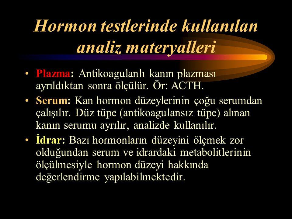 Hormon testlerinde kullanılan analiz materyalleri Plazma: Antikoagulanlı kanın plazması ayrıldıktan sonra ölçülür. Ör: ACTH. Serum: Kan hormon düzeyle