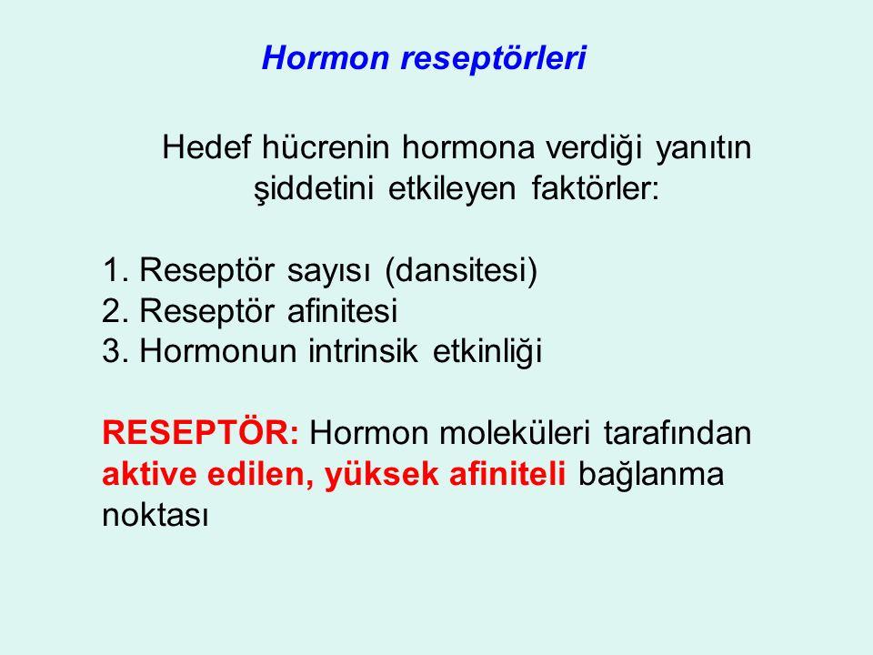 Hormon reseptörleri Hedef hücrenin hormona verdiği yanıtın şiddetini etkileyen faktörler: 1.
