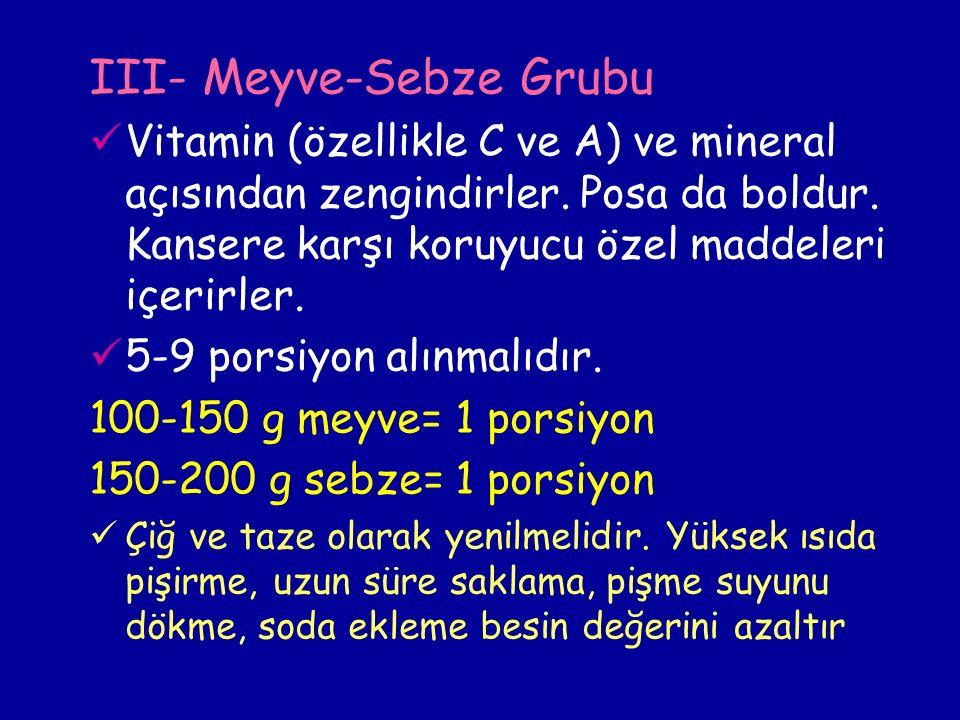III- Meyve-Sebze Grubu Vitamin (özellikle C ve A) ve mineral açısından zengindirler.