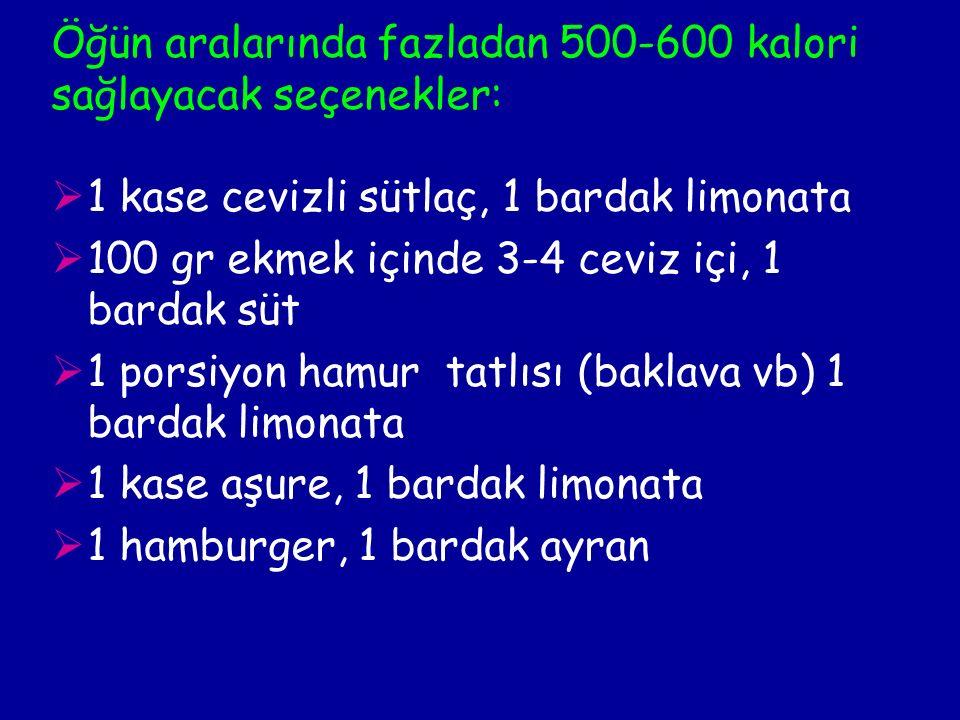 Öğün aralarında fazladan 500-600 kalori sağlayacak seçenekler:  1 kase cevizli sütlaç, 1 bardak limonata  100 gr ekmek içinde 3-4 ceviz içi, 1 bardak süt  1 porsiyon hamur tatlısı (baklava vb) 1 bardak limonata  1 kase aşure, 1 bardak limonata  1 hamburger, 1 bardak ayran