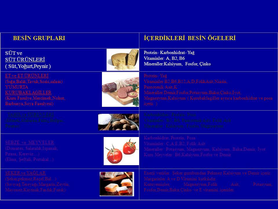 Besin Ö ğelerini İ ç eren Besin Grupları BESİN GRUPLARIİÇERDİKLERİ BESİN ÖGELERİ SÜT ve SÜT ÜRÜNLERİ ( Süt,Yoğurt,Peynir ) Protein- Karbonhidrat- Yağ Vitaminler: A, B2, B6 Mineraller:Kalsiyum, Fosfor, Çinko ET ve ET ÜRÜNLERİ (Sığır,Balık,Tavuk,Sosis,salam) YUMURTA KURUBAKLAGİLLER (Kuru Fasulye,Mercimek,Nohut, Barbunya,Soya Fasulyesi) Protein- Yağ Vitaminler:B2,B6,B12,A,D,FolikAsit,Niasin, Pantotenik Asit,K Mineraller:Demir,Fosfor,Potasyum,Bakır,Çinko,İyot, Magnezyum,Kalsiyum ( Kurubaklagiller ayrıca karbonhidrat ve posa içerir.
