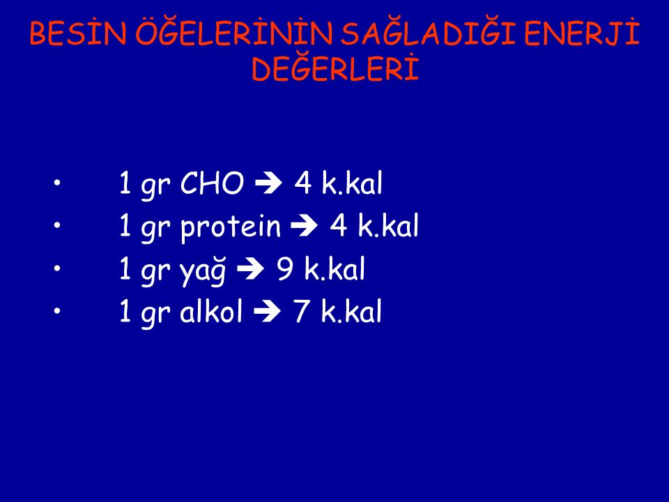 BESİN ÖĞELERİNİN SAĞLADIĞI ENERJİ DEĞERLERİ 1 gr CHO  4 k.kal 1 gr protein  4 k.kal 1 gr yağ  9 k.kal 1 gr alkol  7 k.kal