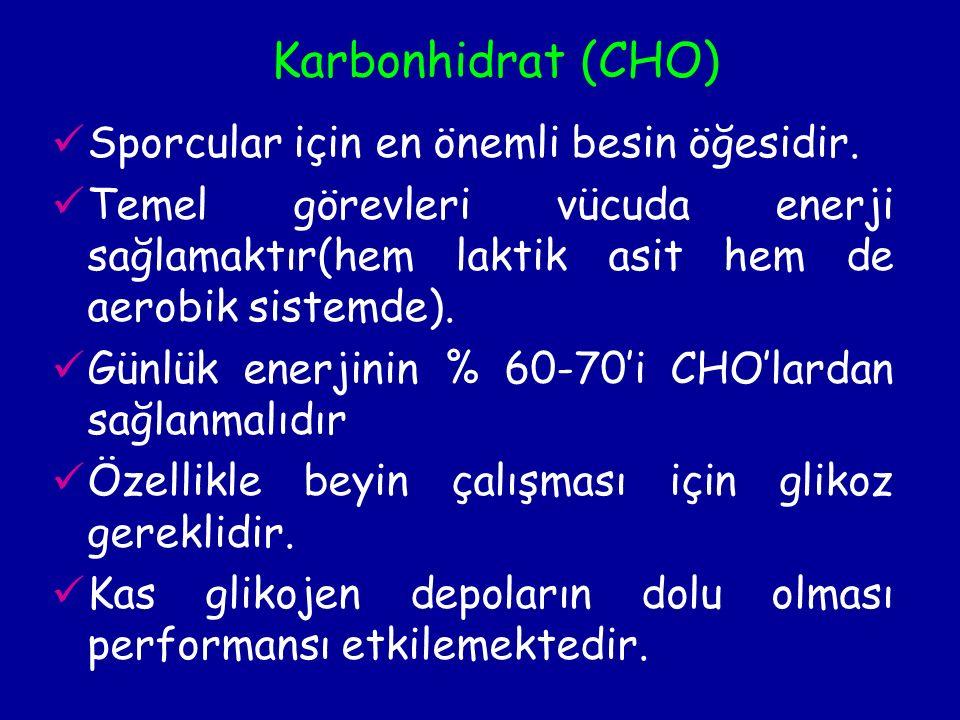 Karbonhidrat (CHO) Sporcular için en önemli besin öğesidir.