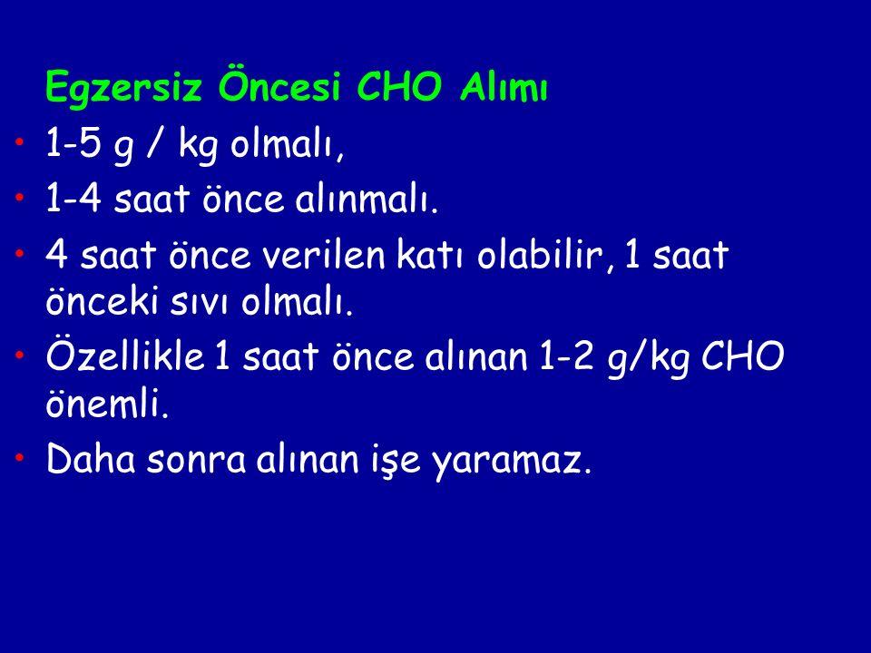 Egzersiz Öncesi CHO Alımı 1-5 g / kg olmalı, 1-4 saat önce alınmalı.