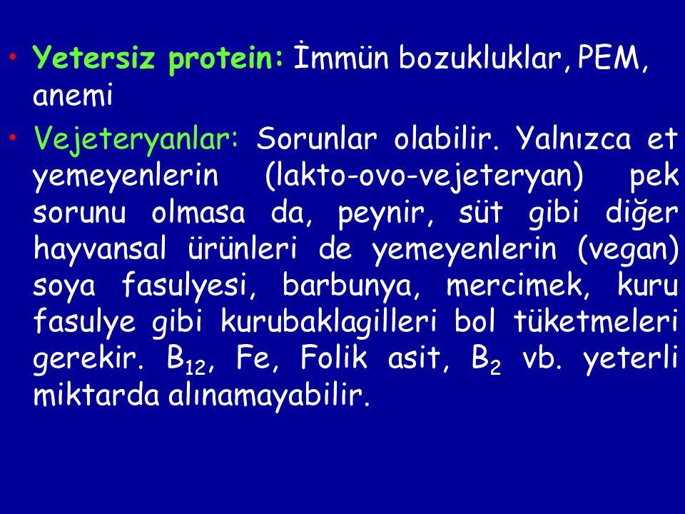 Yetersiz protein: İmmün bozukluklar, PEM, anemi Vejeteryanlar: Sorunlar olabilir.