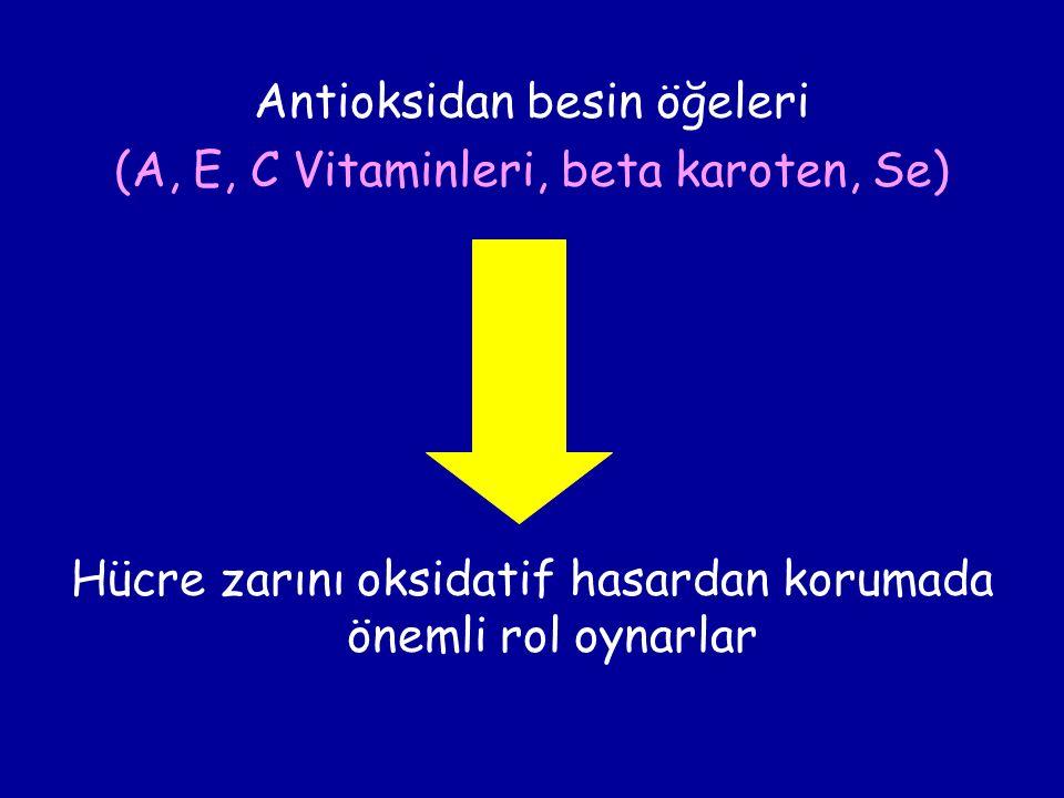 Antioksidan besin öğeleri (A, E, C Vitaminleri, beta karoten, Se) Hücre zarını oksidatif hasardan korumada önemli rol oynarlar
