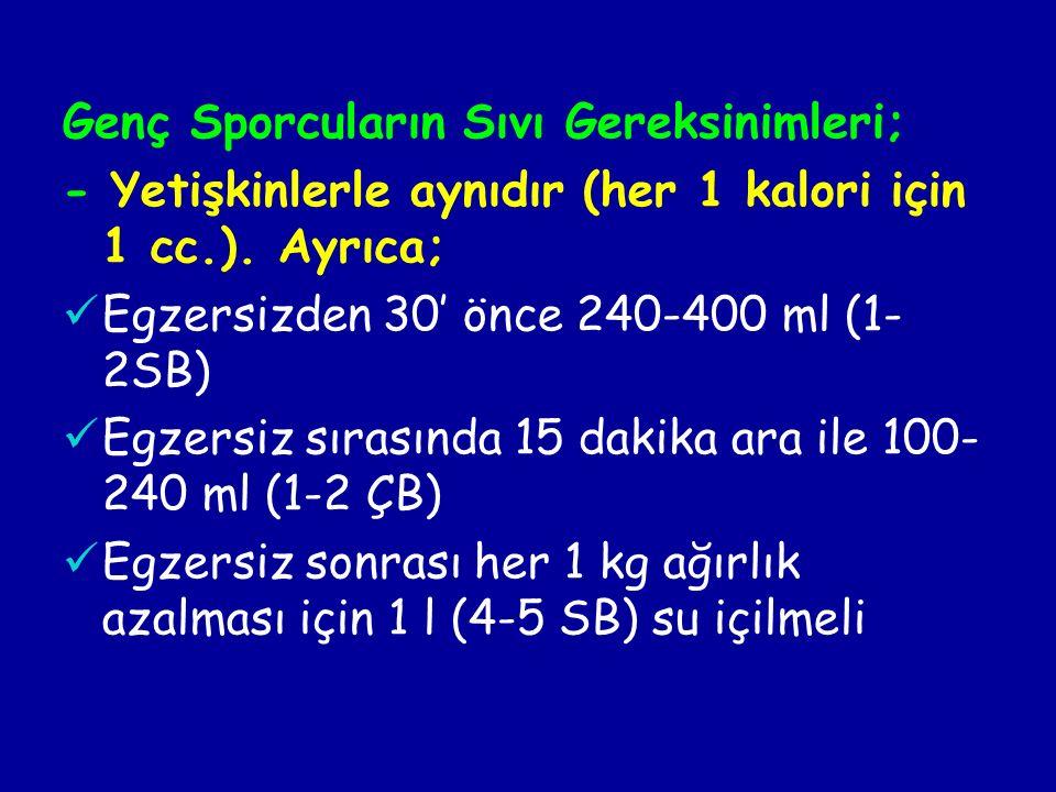 Genç Sporcuların Sıvı Gereksinimleri; - Yetişkinlerle aynıdır (her 1 kalori için 1 cc.).
