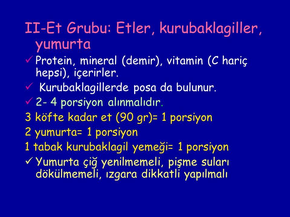 II-Et Grubu: Etler, kurubaklagiller, yumurta Protein, mineral (demir), vitamin (C hariç hepsi), içerirler.