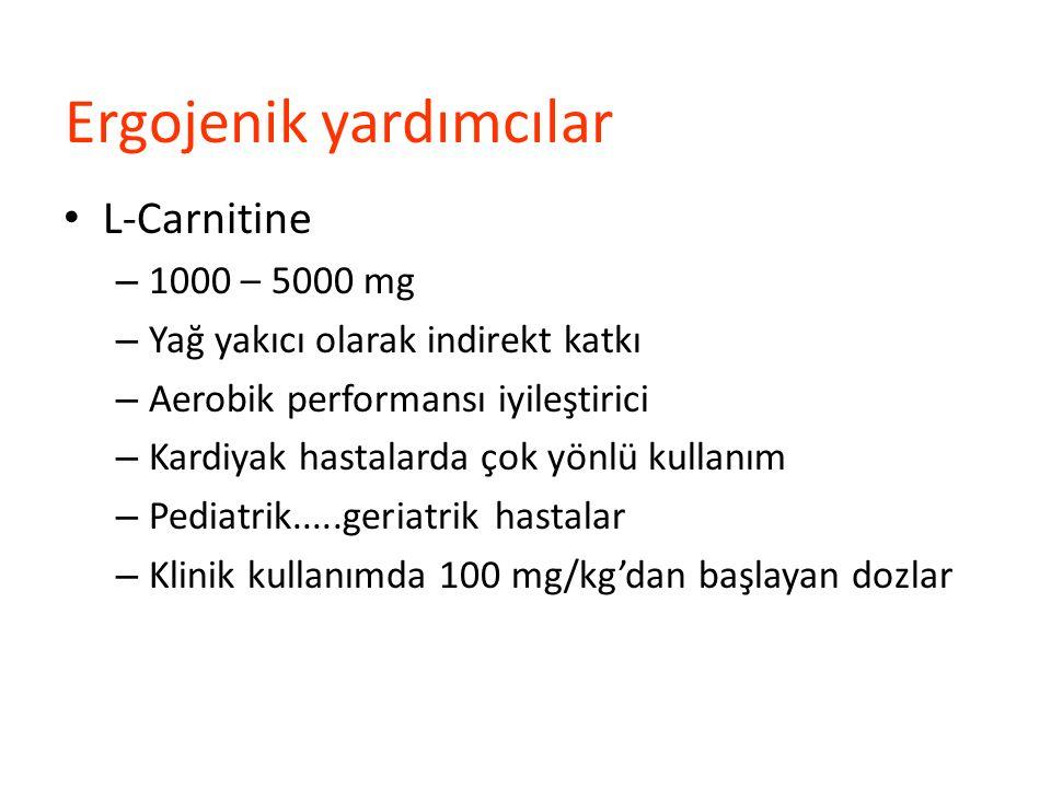 Ergojenik yardımcılar L-Carnitine – 1000 – 5000 mg – Yağ yakıcı olarak indirekt katkı – Aerobik performansı iyileştirici – Kardiyak hastalarda çok yön