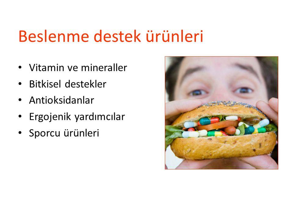 Beslenme destek ürünleri Multivitamin/mineral C vitamini B kompleks vitaminler Antioksidan kompleks Coenzym Q10 Proteinler ve a.asitler Karbonhidratlar Kreatin monohidrat Ginseng L-Carnitine CLA L-Glutamine L-Arginine L-Ornithine Balık yağı Çinko Glu/Chondr/MSM/HA Colostrum HMB β – alanine Bikarbonat
