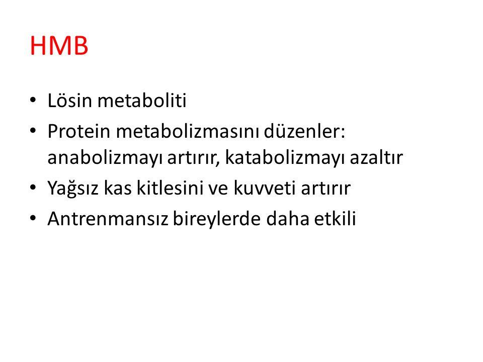HMB Lösin metaboliti Protein metabolizmasını düzenler: anabolizmayı artırır, katabolizmayı azaltır Yağsız kas kitlesini ve kuvveti artırır Antrenmansı